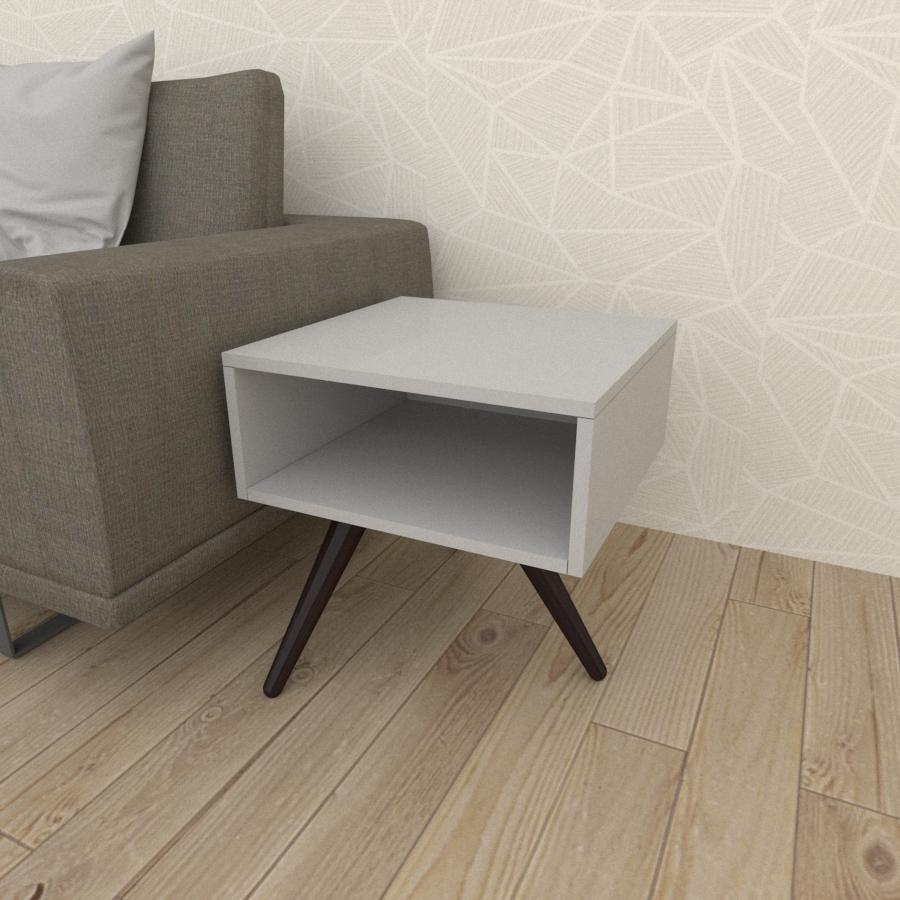 Mesa lateral em mdf cinza com 3 pés inclinados em madeira maciça cor tabaco