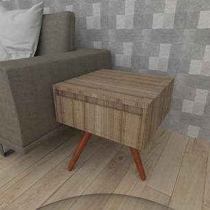 Mesa lateral com gaveta em mdf amadeirado escuro com 3 pés inclinados em madeira maciça cor mogno