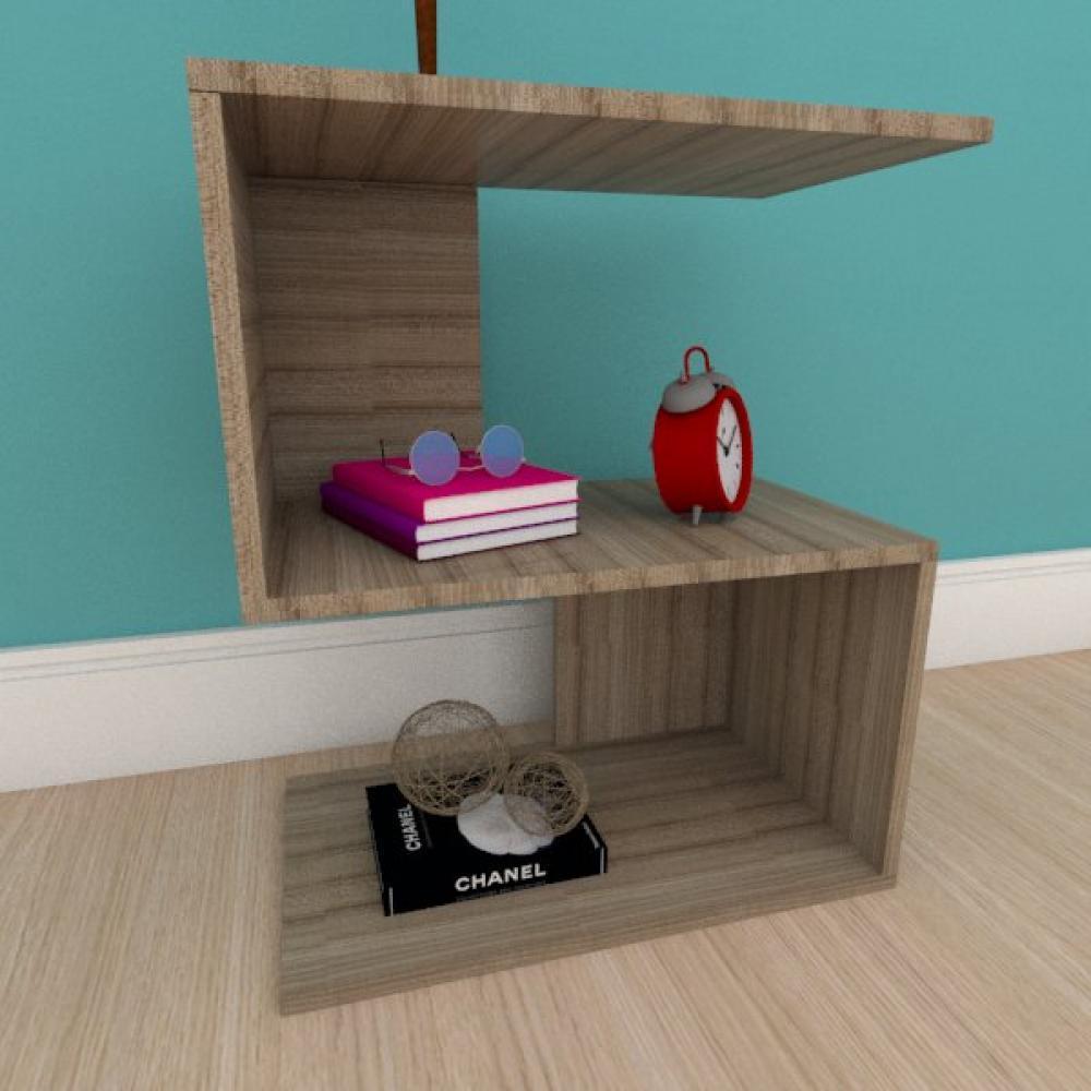 Mesa de cabeceira compacta em formato de S em mdf amadeirado