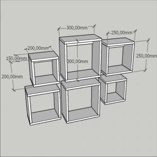 Kit com 6 de Nichos multi uso, mdf branco com cinza