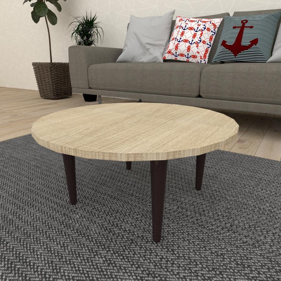 Mesa de Centro redonda em mdf amadeirado claro com 4 pés retos em madeira maciça cor tabaco