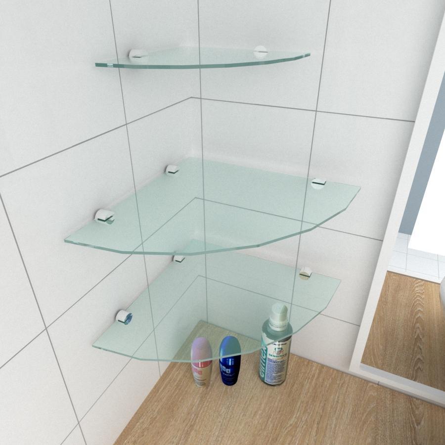 kit com 3 Prateleira para canto de vidro temperado para banheiro 2 de 30 cm e 1 de 20 cm