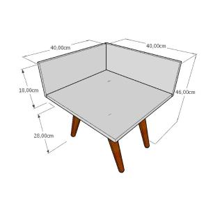 Mesa lateral simples em mdf branco com 4 pés inclinados em madeira maciça cor mogno
