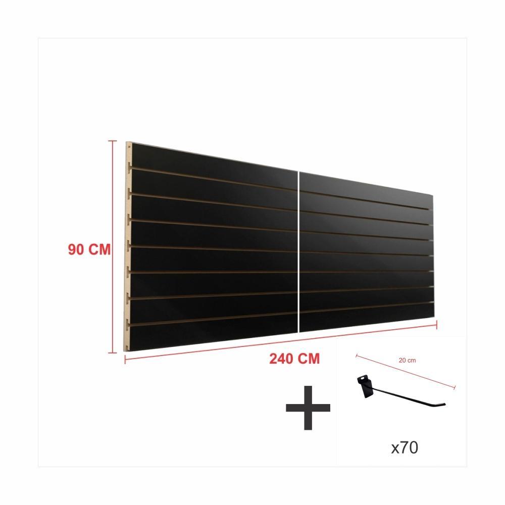 Expositor canaletado preto alt 90 cm comp 240 cm mais 70 ganchos 20 cm