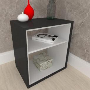 Criado mudo, mesa de cabeceira, em mdf preto com cinza