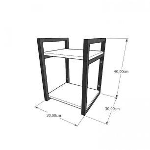 Prateleira industrial para escritório aço cor preto mdf 30cm cor amadeirado escuro modelo ind24aees
