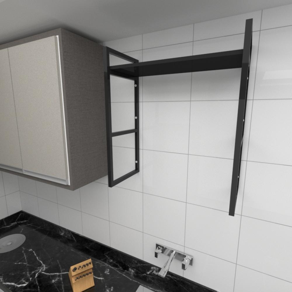Prateleira industrial para cozinha aço cor preto prateleiras 30 cm cor preto modelo ind15pc