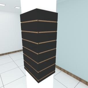 Kit 4 Painel canaletado para pilar preto 2 peças 44(L)x90(A)cm + 2 peças 30(L)x90(A)cm