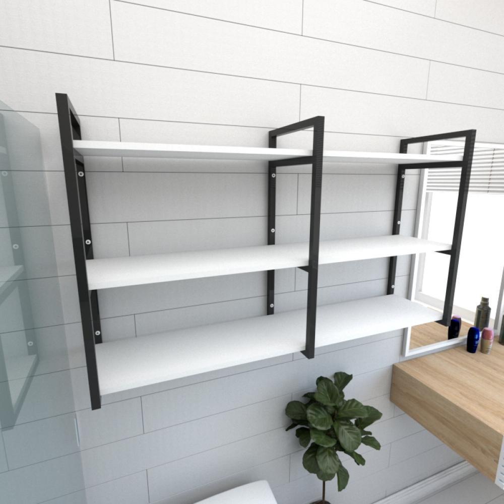 Prateleira industrial para banheiro aço cor preto prateleiras 30 cm cor branca modelo ind11bb