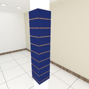 Kit 4 Painel canaletado para pilar azul escuro 2 peças 24(L)x120(A)cm + 2 peças 20(L)x120(A)cm