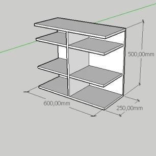 Mesa de cabeceira minimalista com divisor em mdf cinza