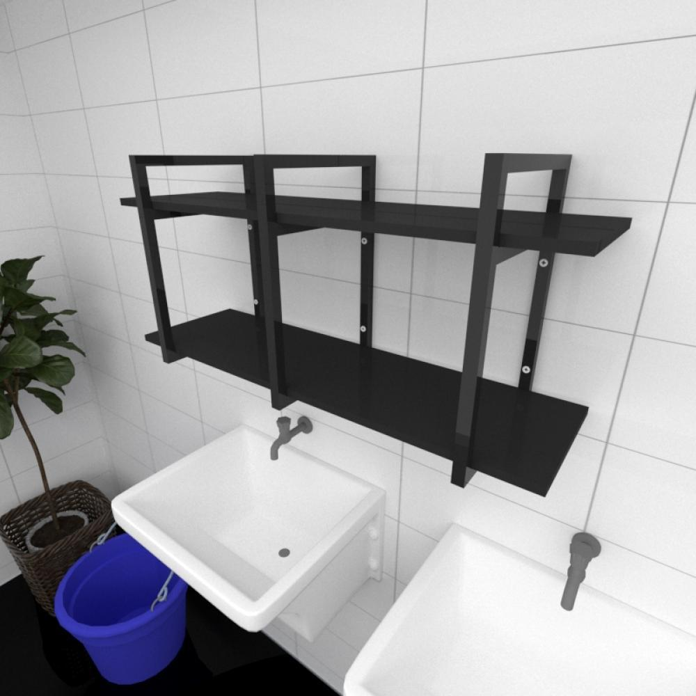 Prateleira industrial para lavanderia aço cor preto prateleiras 30 cm cor preto modelo ind23plav