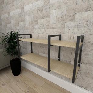 Mini estante industrial para escritório aço preto mdf 30cm cor amadeirado claro modelo ind21acep
