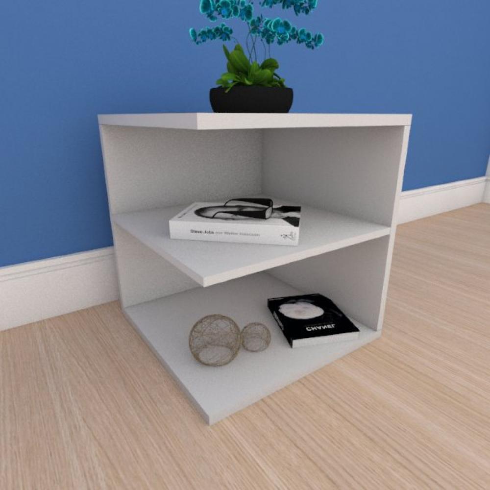 Kit com 2 Mesa de cabeceira compacto com prateleiras em mdf cinza
