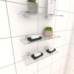 Kit com tres Prateleira para banheiro 30 cm vidro temperado