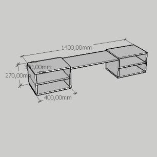 Rack slim duplo moderno com nichos em mdf amadeirado