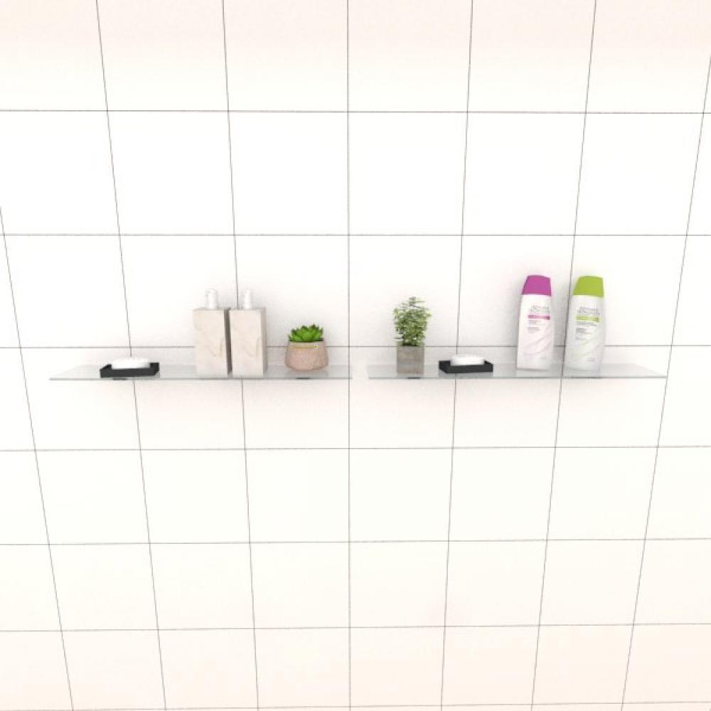 Kit com duas Prateleira para banheiro 50 cm vidro temperado