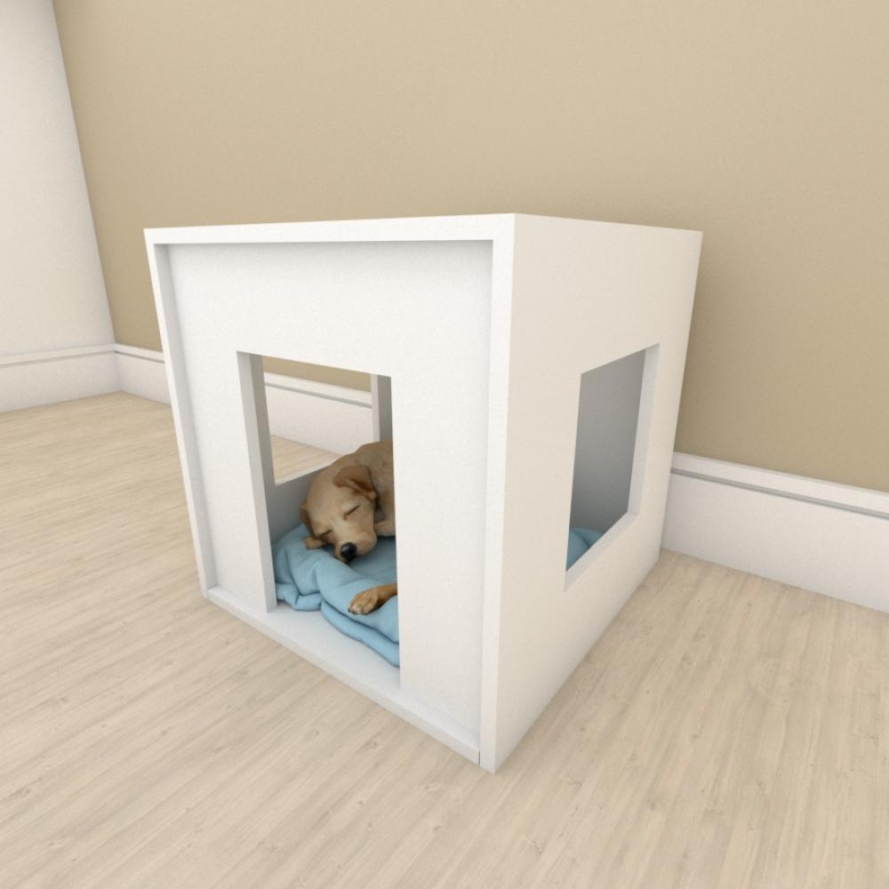Mesa de cabeceira bercinho para cachorro em mdf Branco