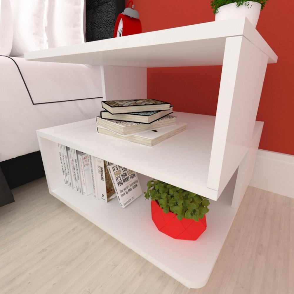 Mesa lateral sofá, mesa de canto Design, em mdf Branco