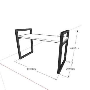 Mini estante industrial para escritório aço cor preto mdf 30cm cor amadeirado escuro mod ind03aeep