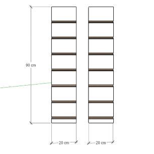 Kit 2 Painel canaletado para pilar preto 2 peças 20(L)x90(A)cm