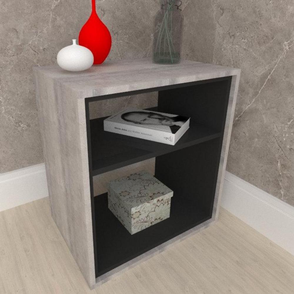 Mesa lateral, em mdf Rustico com preto