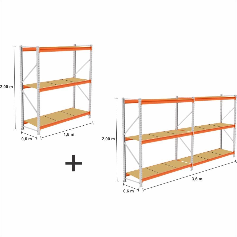 kit 3 Mini Porta Pallet 2 Inicial + 1 cont 250KG Com 3 niveis 2,00X1,80X0,60 com band. em MDF CRU