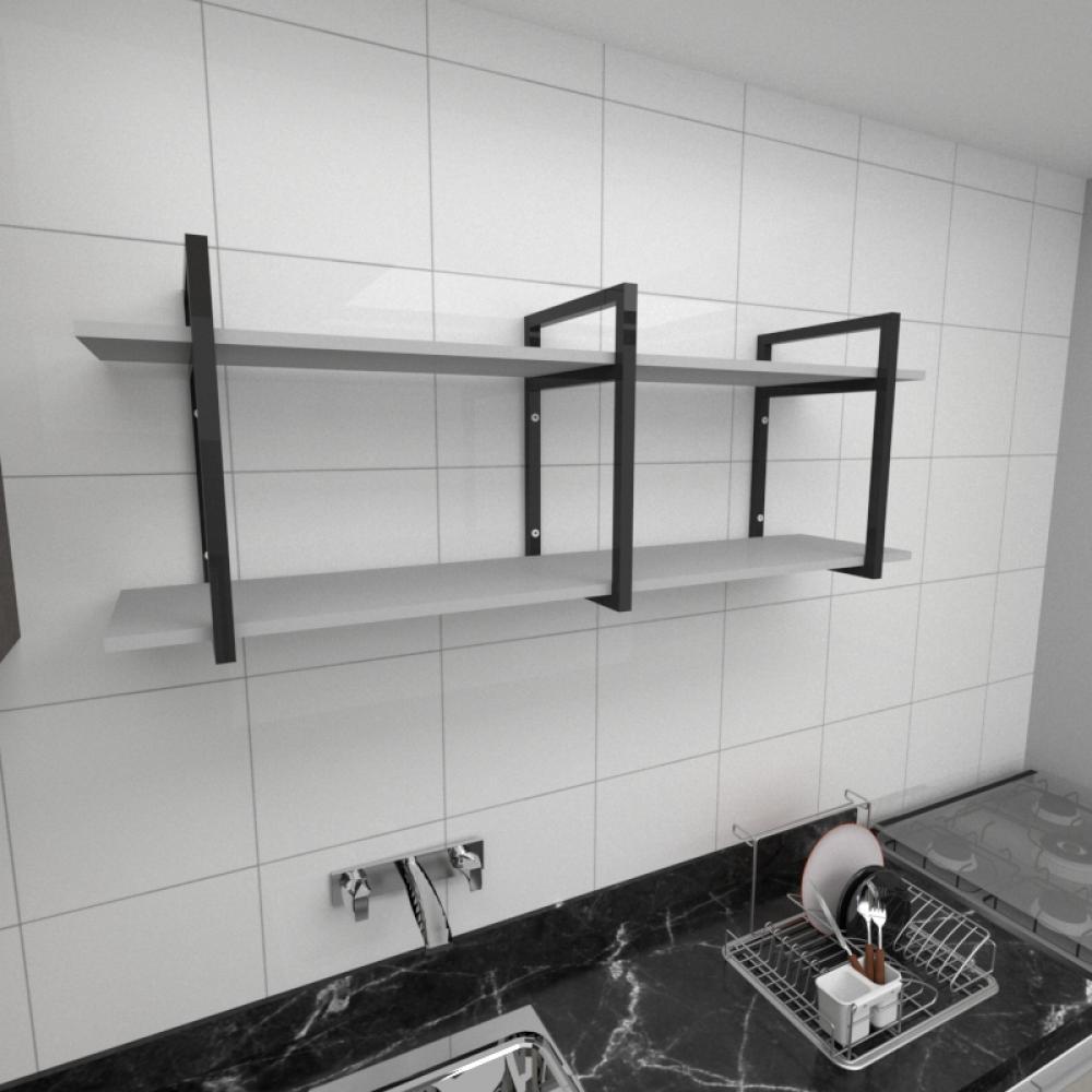 Prateleira industrial para cozinha aço cor preto prateleiras 30 cm cor cinza modelo ind05cc