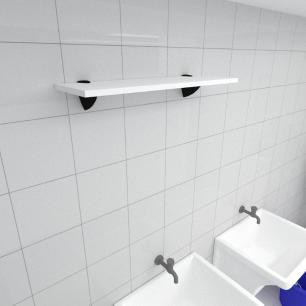 Prateleira para lavanderia MDF suporte tucano cor branco 60(C)x20(P)cm modelo pratlvb10