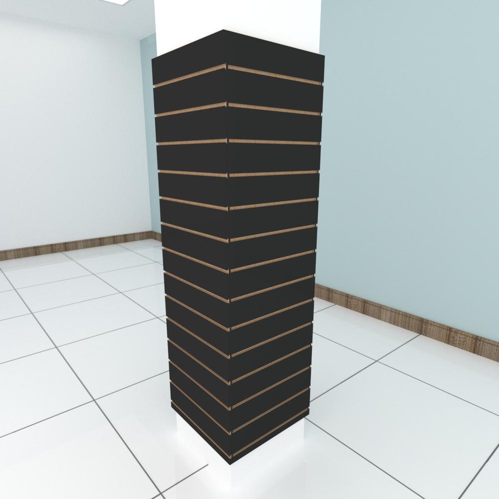 Kit 4 Painel canaletado para pilar preto 2 peças 54(L)x180(A)cm + 2 peças 50(L)x180(A)cm