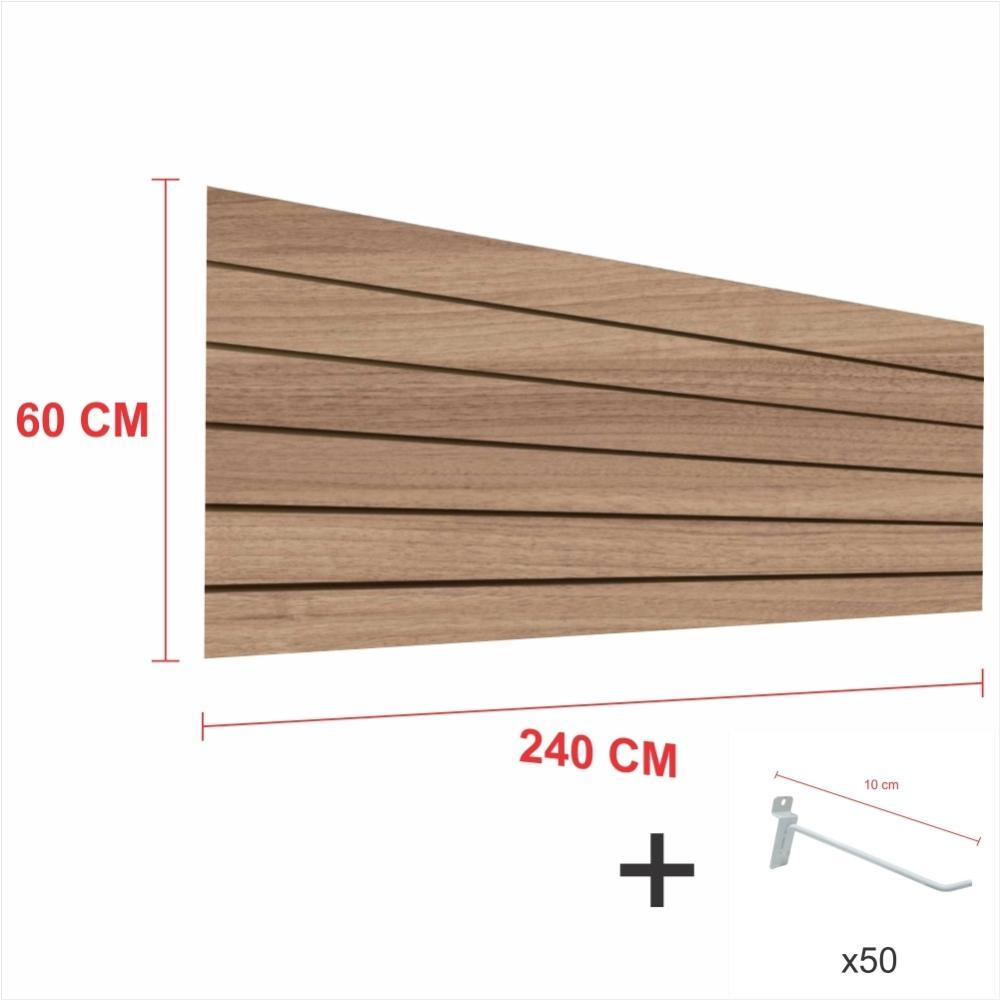 Expositor canaletado amadeirado alt 60 cm comp 240 cm mais 50 ganchos 10 cm