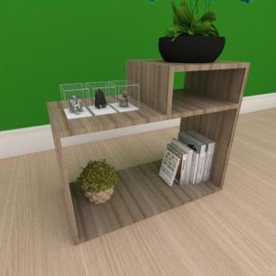 Kit com 2 Mesa de cabeceira simples com nicho em mdf amadeirado