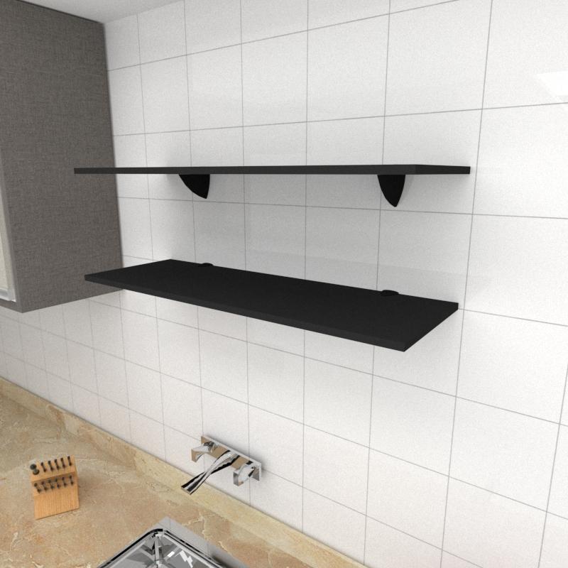 Kit 2 prateleiras para cozinha em MDF suporte tucano preto 90x30cm modelo pratcp02