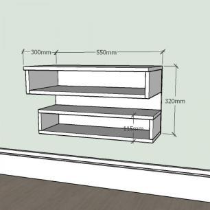 Aparador simples com nichos prateleiras em mdf Preto