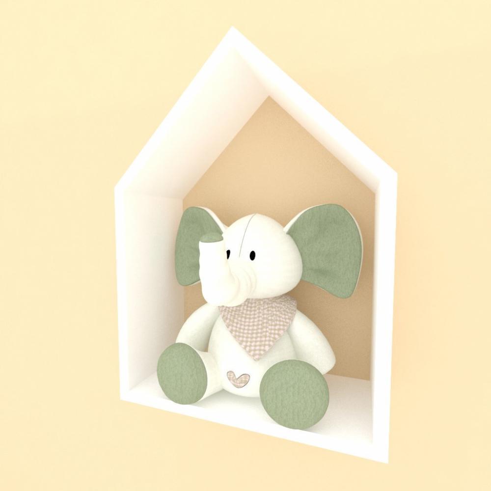 A01 Nicho em formato de casinha, moderno, todos mdf Branco