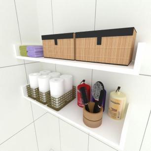 Kit com 2 Prateleiras para livros, nichos modernos, em mdf 50x20 Branco