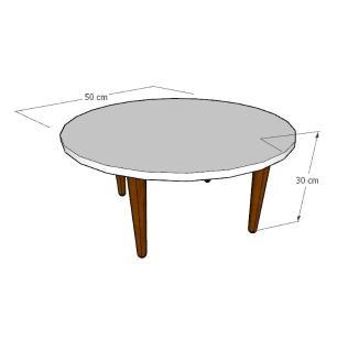 Mesa de Centro redonda em mdf cinza com 4 pés retos em madeira maciça cor tabaco