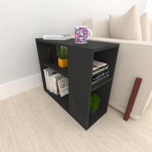 Mesa lateral para sofá, em mdf preto
