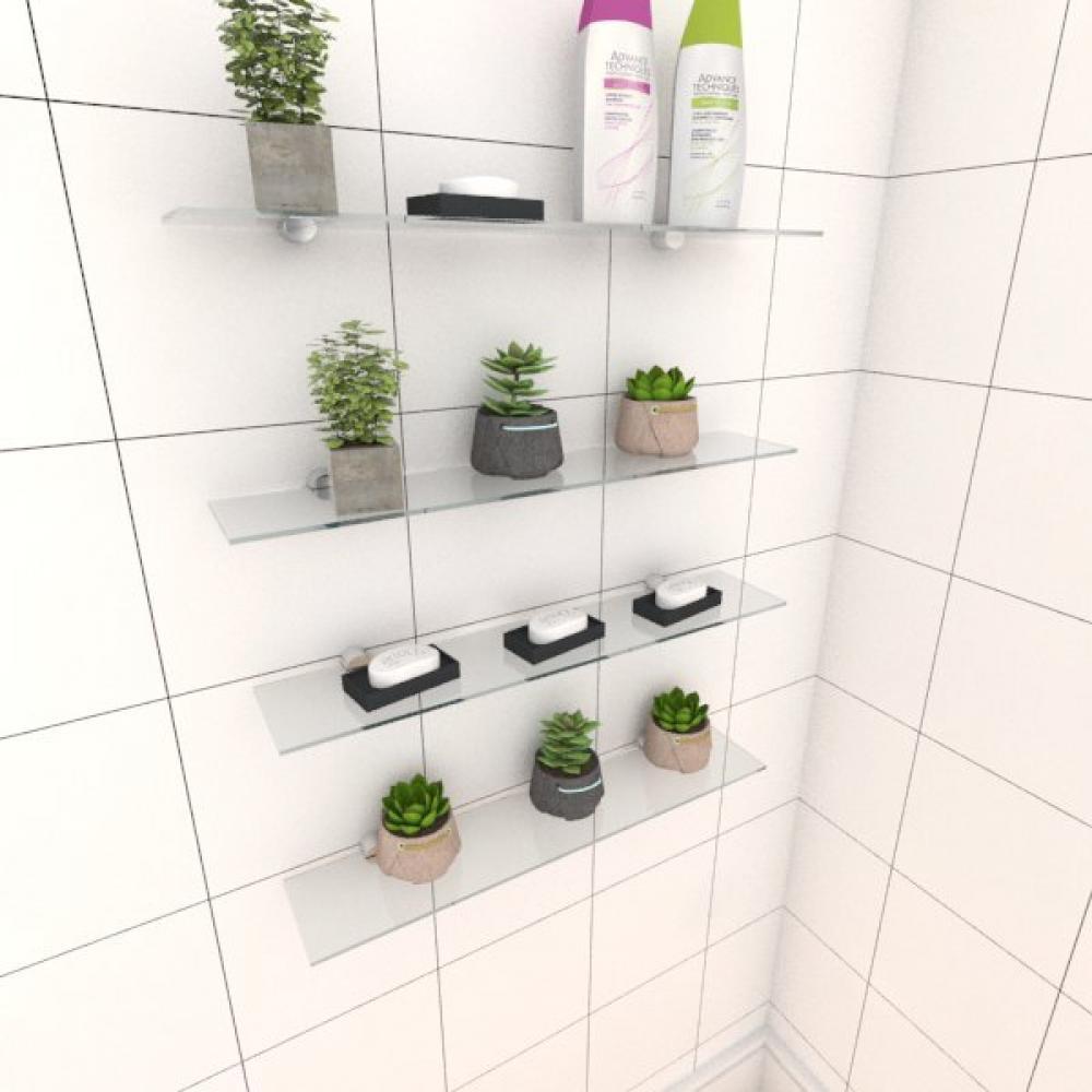 Kit com quatro Prateleira para banheiro 50 cm vidro temperado