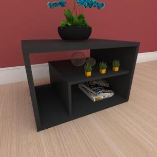 Mesa de cabeceira slim com prateleiras em mdf preto
