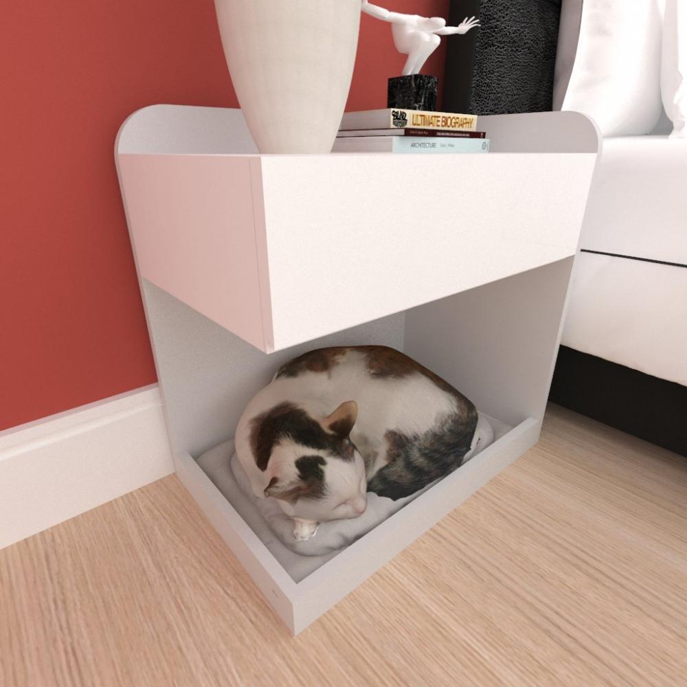 Casinha caminha criado mudo gato gaveta mdf cor cinza branco