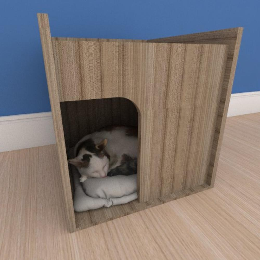 Mesa de cabeceira caminha compacta pequeno gato em mdf amadeirado