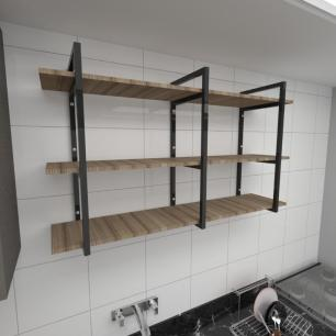 Prateleira industrial cozinha aço cor preto prateleiras 30cm cor amadeirado escuro mod ind12aec