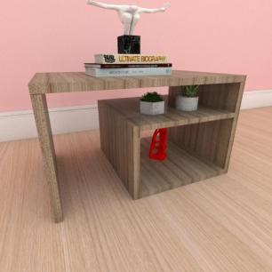 Mesa de centro moderna simples com prateleiras em mdf amadeirado