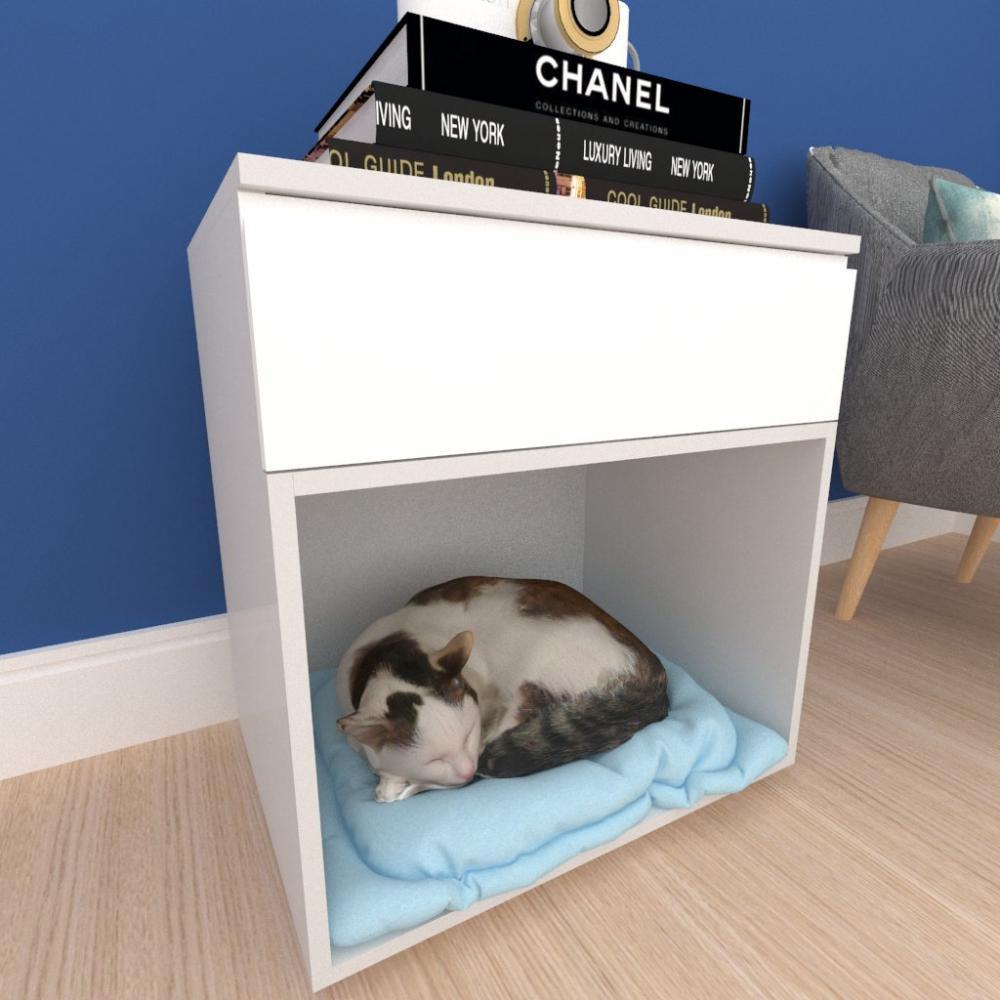 Casinha caminha gato com gaveta mdf cinza com branco