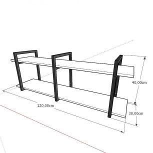 Prateleira industrial aço cor preto 30 cm MDF cor amadeirado claro modelo indfb05acsl