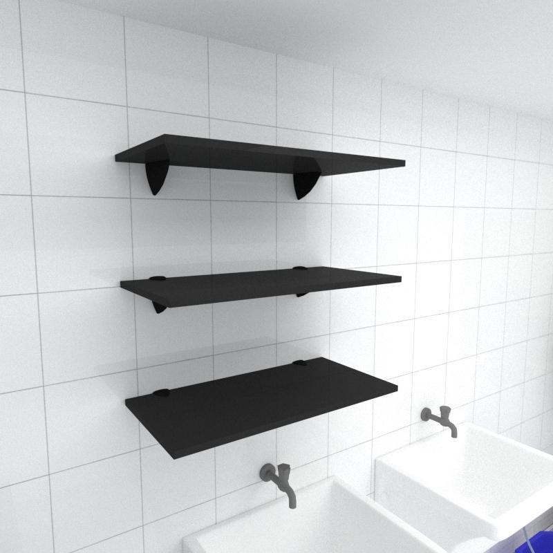 Kit 3 prateleiras para lavanderia em MDF suporte tucano preto 60x30cm modelo pratlvp06