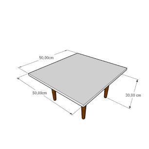 Mesa de Centro quadrada em mdf cinza com 4 pés retos em madeira maciça cor mogno