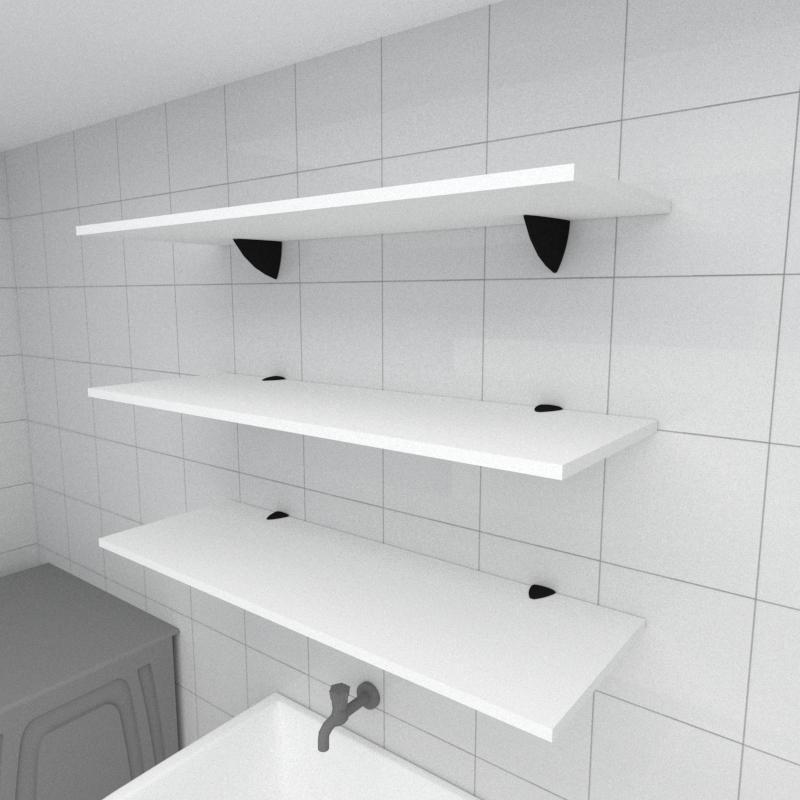 Kit 3 prateleiras para lavanderia em MDF suporte tucano branco 90x30cm modelo pratlvb03