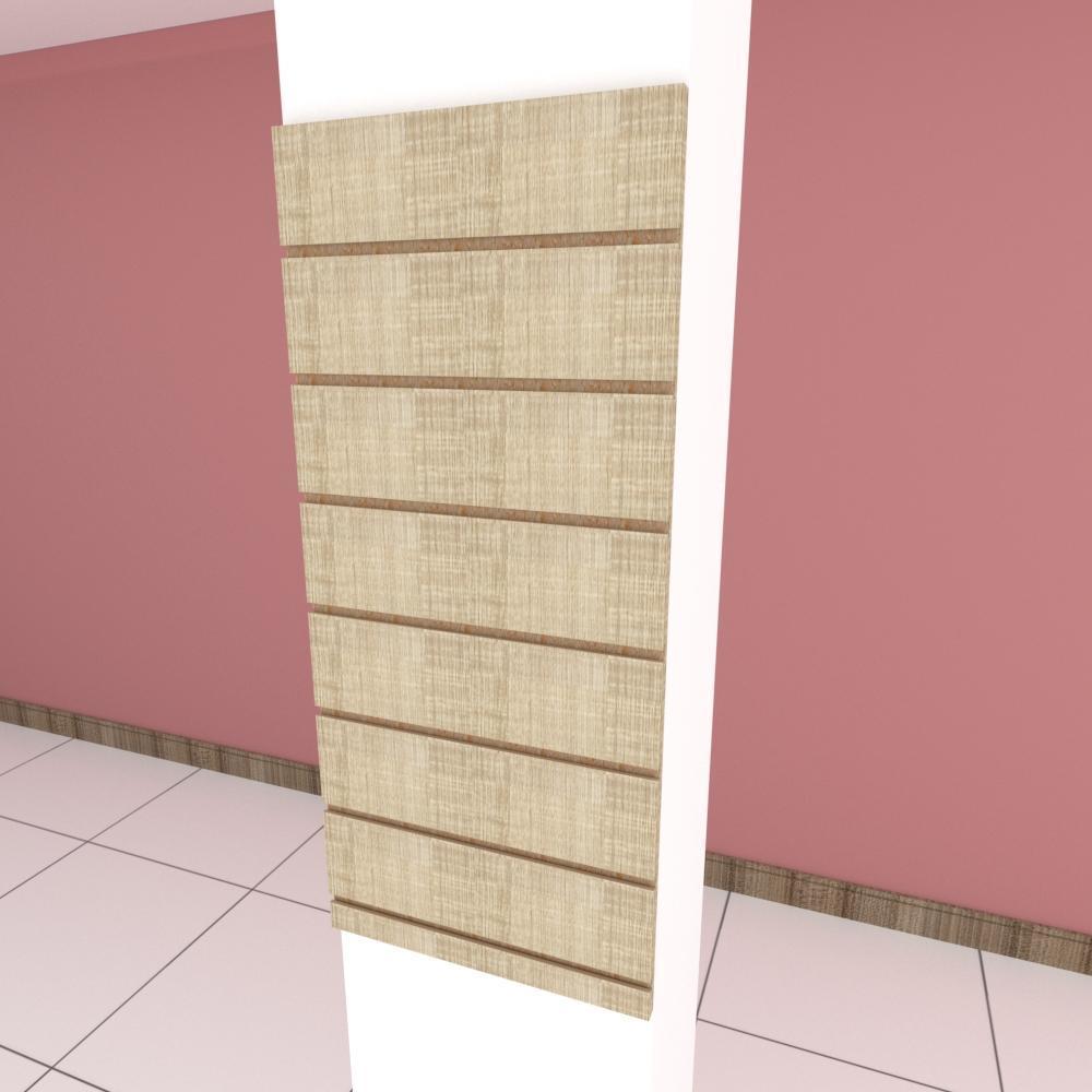 Painel canaletado para pilar amadeirado claro 1 peça 30(L)x90(A) cm